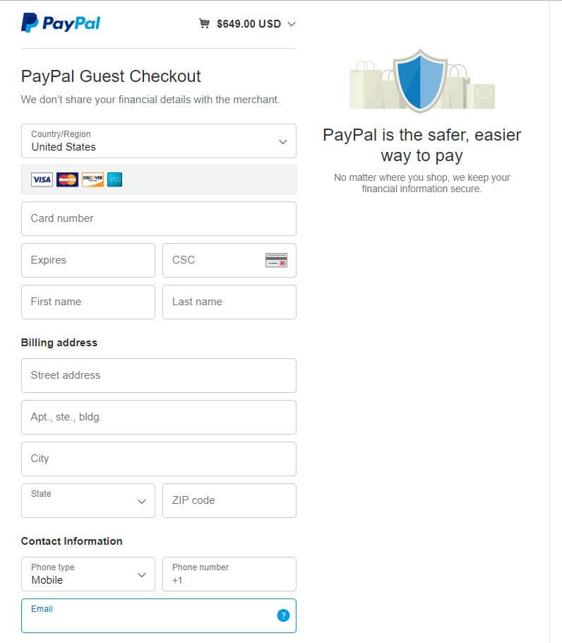 Maksa luottokortilla, kuten Visa ja MasterCard